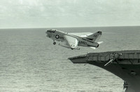 A-7 Corsair leaves USS America